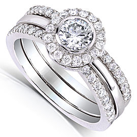 Round-cut Diamond 3-piece Bridal Ring Set 7/8 Carat (ctw) in 14k White Gold - 11.0