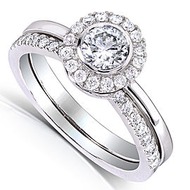 Round Bezel Diamond Halo Bridal Set 3/4ct TDW in 14k White Gold - 9.5