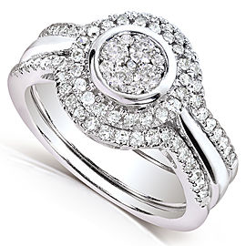 Round-Cut Cluster Diamond Bridal Set 1/2 Carat (ctw) in 10k White Gold (3 Piece Set) - 6.0