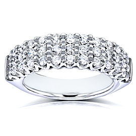 Multi Row Round Cut Diamond Wedding Band 1 Carat (ctw) in 10k White Gold