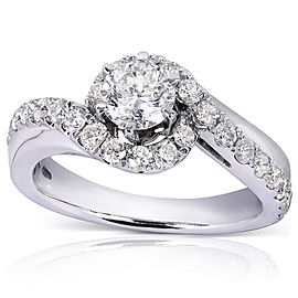 Diamond Bypass Curved Ring 1 CTW 14k White Gold
