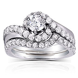 Round-cut Diamond Bridal Ring Set 1 2/5 Carat (ctw) in 14k White Gold