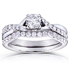 Round Diamond Criss Cross Bridal Set 3/4 CTW in 14k White Gold - 10.0
