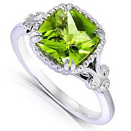 Cushion-cut Peridot & Diamond Accent Ring 2 Carat (ctw) in Silver 14k White Gold Plated - 11.0