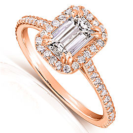 Emerald-Cut Diamond Engagement Ring 1 1/3 Carat (ctw) in 14k Rose Gold