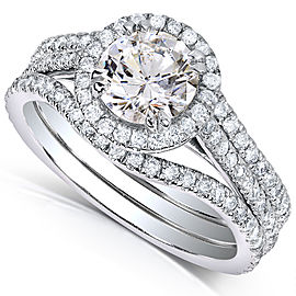 Round-cut Diamond 3-piece Bridal Ring Set 1 3/4 Carat (ctw) in 14k White Gold