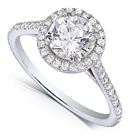 Round-cut Diamond Halo Engagement Ring 1 1/3 Carat (ctw) in 14k White Gold