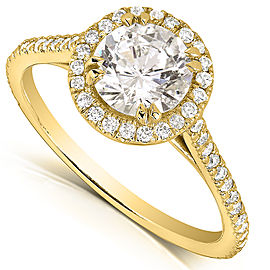 Round-cut Diamond Halo Engagement Ring 1 1/3 Carat (ctw) in 14k Yellow Gold