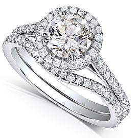 Round-cut Halo Diamond Bridal Ring Set 1 1/2 Carat (ctw) in 14k White Gold