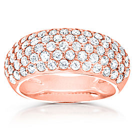 Round Domed Diamond Pave Band 1 1/4 carat (ctw) in 14K Rose Gold