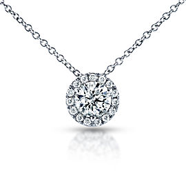 Circle Diamond Halo Necklace 3/5 Carat (ctw) in 14k White Gold