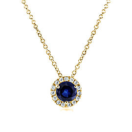 Round Blue Sapphire and Diamond Necklace 4/5 Carat (ctw) in 14k Yellow Gold