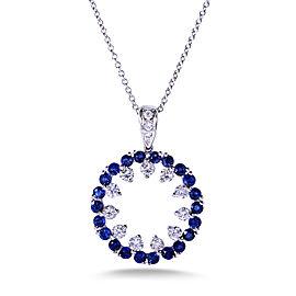 Blue Sapphire & Diamond Pendant in 14k White Gold
