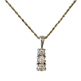 14K White Gold & .61 ctw Diamond Pendent Necklace