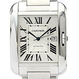 CARTIER Tank Anglaise XL Steel Automatic Mens Watch W5310 Polished