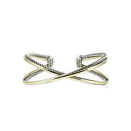 David Yurman Sterling Silver 18K Yellow Gold Wide Crossover X Cuff Bracelet