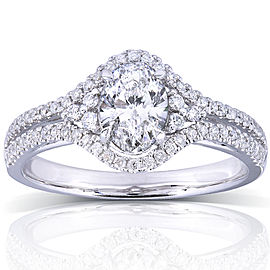 Oval Cut Diamond Engagement Ring 1 Carat (ctw) in 14K White Gold