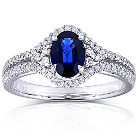 Oval Sapphire and Diamond Split Shank Engagement Ring 1 1/3 CTW in 14k White Gold