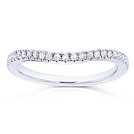 Curved Diamond Wedding Band 1/8 Carat (ctw) in 14k White Gold