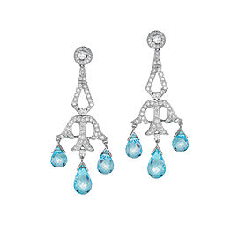 Diamond Laced, Blue Topaz, 18K White Gold Chandelier Earrings