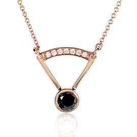 Round-cut Black Diamond Bezel Necklace 2/5 Carat (ctw) in 14k Rose Gold