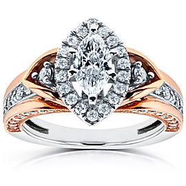 Marquise Diamond Engagement Ring 1 CTW in 14k Two-tone Gold - 9.5