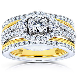 Round Diamond 3-Piece Bridal Set 1 1/3 CTW in 14k Two-Tone Gold