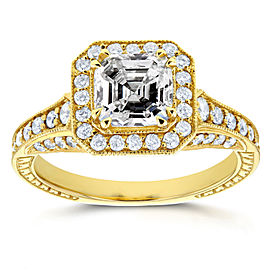Antique Asscher Diamond Engagement Ring 1 3/5 CTW in 14k Yellow Gold
