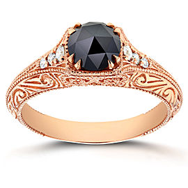 Antique Round Rose-Cut Black and White Diamond Art Nouveau Engagement Ring 1 CTW in 14k Rose Gold