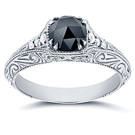Antique Round Rose-Cut Black and White Diamond Art Nouveau Engagement Ring 1 CTW in 14k White Gold