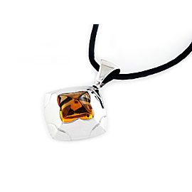 Bulgari Piramide 18K White Gold Citrine Pendant Necklace