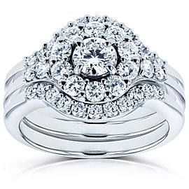 Round Halo Diamond Bridal Set 1 Carat (ctw) in 14k White Gold (3 Piece Set)