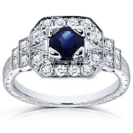 Antique Blue Sapphire and Diamond Fashion Engagement Ring 4/5 CTW in 14k White Gold