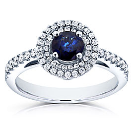Double Halo Sapphire Engagement Ring 3/4 CTW in 14k White Gold