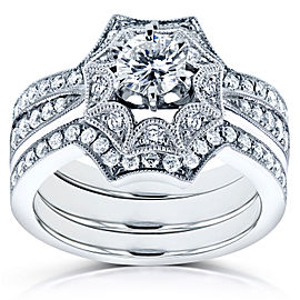 Diamond Starry Milgrain Bridal Set 1 CTW in 14k White Gold (3 Piece Set)