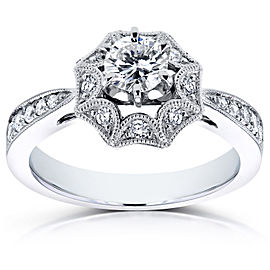Diamond Starry Milgrain Engagement Ring 3/5 CTW in 14k White Gold