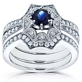 Blue Sapphire Starry Milgrain Bridal Set 1 CTW in 14k White Gold (3 Piece Set)