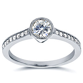 Art Deco Diamond Bezel Engagement Ring 3/4 CTW in 14k White Gold - 11.0