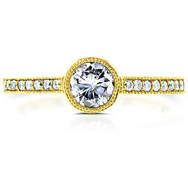 Art Deco Diamond Bezel Engagement Ring 3/4 CTW in 14k Yellow Gold - 11.0