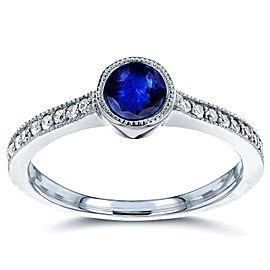 Art Deco Blue Sapphire and Diamond Bezel Engagement Ring 3/4 CTW in 14k White Gold - 11.0