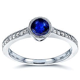 Art Deco Blue Sapphire and Diamond Bezel Engagement Ring 3/4 CTW in 14k White Gold