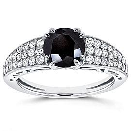 Round Black Diamond Engagement Ring 1 2/5 Carat (ctw) in 14K White Gold - 11.0