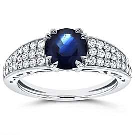 Blue Sapphire and Diamond Soft-Edged Ring 1 3/5 CTW in 14K White Gold