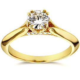 Antique Floral Diamond Engagement Ring 1/2 CTW in 14k Yellow Gold - 11.0