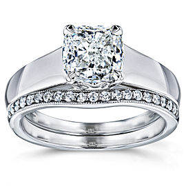 Cushion Diamond Solitaire and Wedding Band Bridal Set 1 1/6 CTW in 14k White Gold
