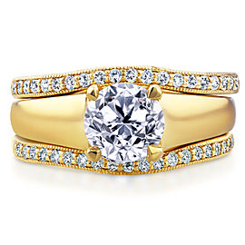 Round Diamond Solitaire and Double Bands 3-Piece Bridal Set 1 1/3 CTW in 14k Yellow Gold