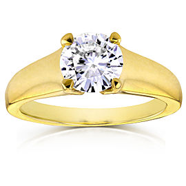 Classic Round Diamond Solitaire Ring 1 Carat in 14k Yellow Gold - 10.0