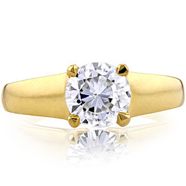 Classic Round Diamond Solitaire Ring 1 Carat in 14k Yellow Gold - 11.0