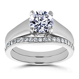 Round Diamond Solitaire and Wedding Band Bridal Set 1 1/6 CTW in 14k White Gold - 10.5