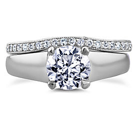 Round Diamond Solitaire and Wedding Band Bridal Set 1 1/6 CTW in 14k White Gold - 11.0